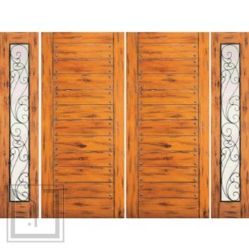 Prehung Double Door with Two Sidelites, Entry, Knotty Alder Flush