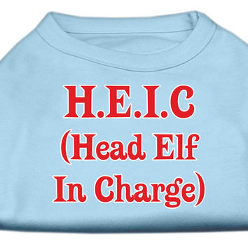 Miragepet Products Puppy Dog Cat Apparel Head Elf In Charge Screen Print Shirt Baby Blue Small(10)