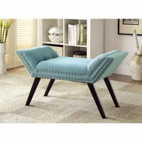 Wesby Contemporary Bench, Blue By Furniture Of America