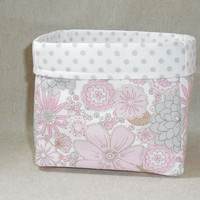 Pretty Pastel Pink and Gray Fabric Basket