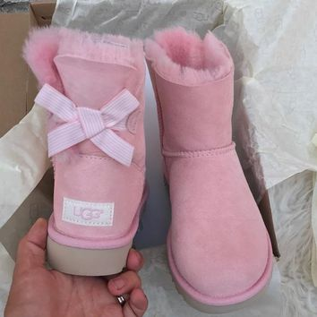 UGG Authentic Bailey bow pink boots-1