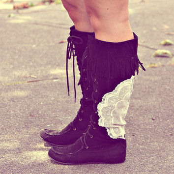 the field boots. lace and fringe tall boots. only one pair ever made