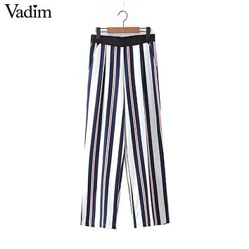 Women vintage striped loose pants elastic waist bottom split pockets ladies casual streetwear full length trousers mujer KZ895