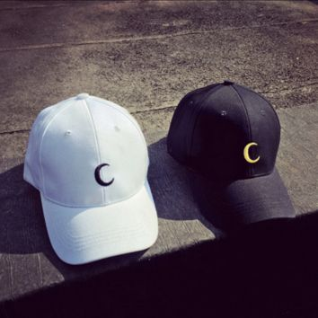 Moon Embroidered Baseball cotton cap Hat