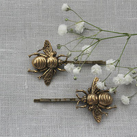 Antique Brass Bumblebee Hair Slides