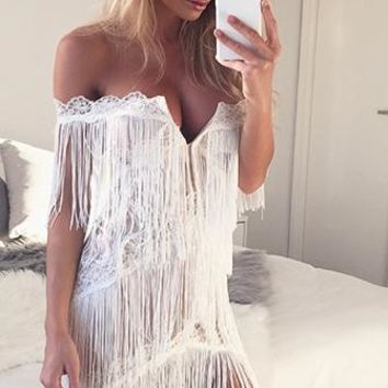 Modern Dreamer White Nude Fringe Lace Off The Shoulder Plunge V Neck Halter Bodycon Mini Dress