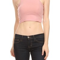 Sexy Solid Fitted Cropped Tank Top with Round Neck and Racerback