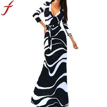 2016 Autumn Winter New Women's Striped V Neck 3/4 Sleeve High Waist Black Long Maxi Dress with Sashes