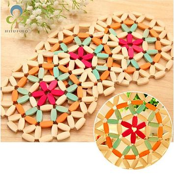 1pc bamboo set bamboo disc pads bowl heat insulation placemat pot holder coasters bamboo set dining table set GYH