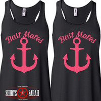 Women's Best Friends Mates Anchor Tanks - Besties Tank Tops Nautical Best Mates BFF Friend Shirts