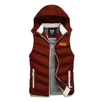 Mens Ultra Warm Winter Hooded Puffy Vest in Red