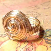 Silver and Gold Swirl Ring, Size 4 5 6 7 8 9 10 11 12 13 14, Statement Ring, Gold and Silver Wire Ring, Wire Wrapped Jewelry Handmade