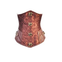 Full Steel Steampunk Lace up Boned Underbust Bustier Corset Top