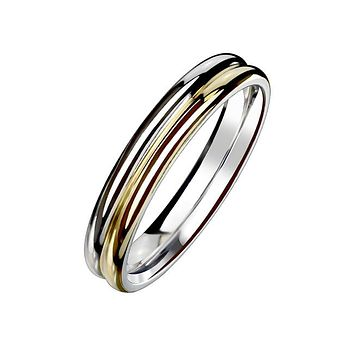 Silver And Gold Love - Women's Double Dome Two Tone Stainless Steel Silver And Gold IP Band