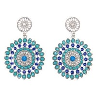Lt Blue Faceted Stone Medallion Drop Earrings by Charlotte Russe