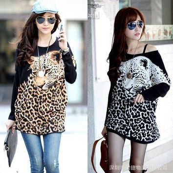 Women's Autumn Winter Batwing Sleeve Dress Casual Leopard T-shirt Long Sleeve Animal Print Tops = 1945772356