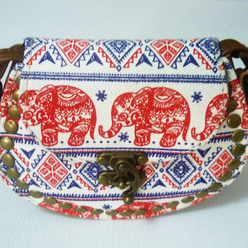 Small shoulder bag Red elephant tribal fabric fake leather bag PU leather wide 11.5 cm. Cross body bag Handbags/ purse