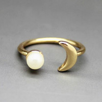 Unique Moon Shape Rings Adjustable Tail Ring AnaeCadeau Gift-214