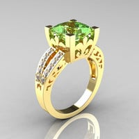 French Vintage 14K Yellow Gold 3.8 Carat Princess Green Topaz Diamond Solitaire Ring R222-YGDGT