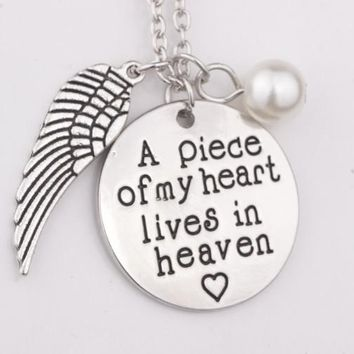 Letter A Piece of My Heart Lives In Heaven Loss of Loved One Memorial Angel Wing Necklace remember miscarriage jewelry necklace