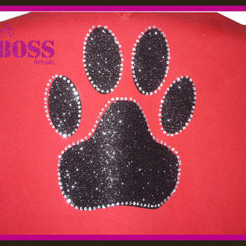 Paw Bling Shirt Sparkle Bulldogs Panthers Team School Sports Ladies Girls Glitter Custom Design Colors Sports Name Birthday Personalized