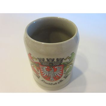 Frankfurt W Germany Gerz Ceramic Mug Etched Mark Crest of Region