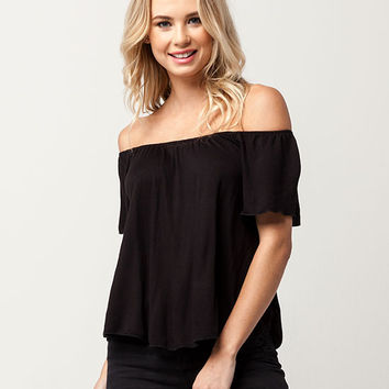 H.I.P. Solid Womens Off The Shoulder Top | Knit Tops + Tees