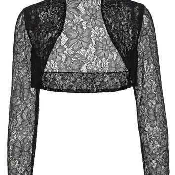 Belle Poque Jacket Womens Ladies Long Sleeve Cropped Shrug Black White Coat 2016 New Fashion Lace Bolero Plus Size