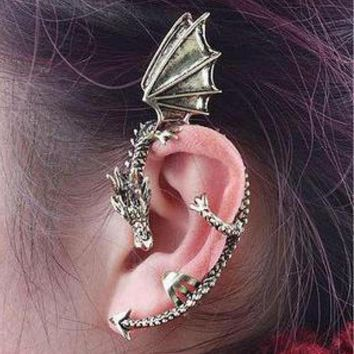 vintage Gothic Rock Punk Gold Silver Dragon Ear Cuff Earring Wrap Clip On Earrings Clip Clamp (Only single price)