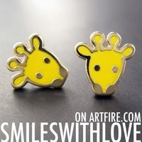 SALE Small Yellow Baby Giraffe Animal Stud Earrings in Yellow on Gold
