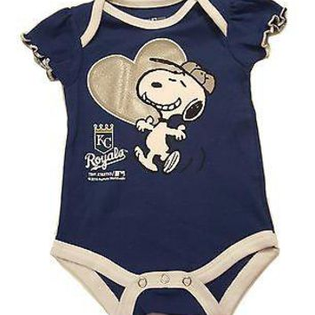 Kansas City Royals Newborn Infant Girls Creeper Snoopy Peanuts MLB Baby Romper