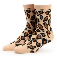 Sock It To Me Leopard Lion Girls Crew Socks at Zumiez : PDP