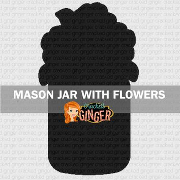 Mason Jar With Flowers Wood Cut Out Kit