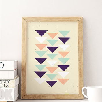 Aztec Print, Geometric Art, Aztec Triangles Poster, Aztec Wall Art, Home Decor, Tribal Print, Geometric Print, Aztec Poster, 8x10 print