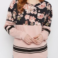 Pink Rose Drop Yoke Top | Long Sleeve Graphic Tees | rue21