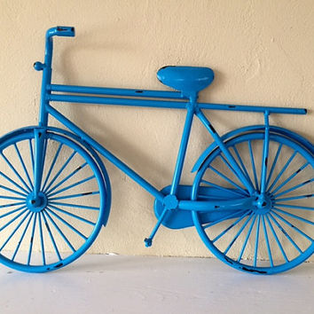 Metal Decorative Bicycle wall hanging, seaside blue, distressed