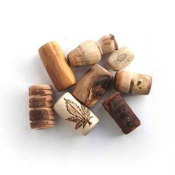 Wood dread beads set: unique beads for dreads, handmade hippie natural wooden beads in different sizes and styles