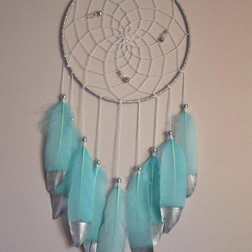 Native American Style Silver Dream Catcher, Boys Girls Room Decor, Silver Mint Bedroom Nursery Decor Wall Hanging Dreamcatcher