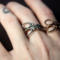 Little Scissor Wrap Ring in White Rhodium or by BrillianceFound