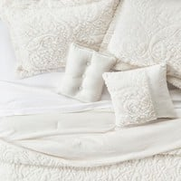 Embroidered Long Faux Fur Coverlet Set 5-Piece - Ivory : Target