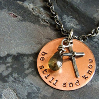 Christian Jewelry, Be Still and Know Necklace, Bible Verse Psalm 46:10, Cross Necklace, Inspirational, Religious