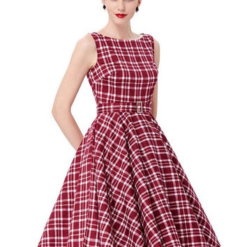 Belle Poque Plaid Pattern Audrey Hepburn Big Swing Sexy Party Vintage Dresses 50s 60s Summer Dress 2017 Plus Size Women Clothing
