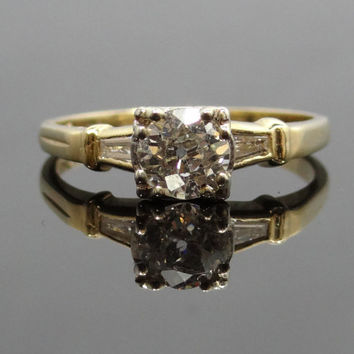Gorgeous 14K Two-Tone 1940s Old Mine Cut Illusion Head Diamond Engagement Ring - RGDI173P