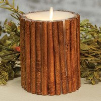 "5"" Cinnamon Stick Embedded Pillar Candle - Unscented"