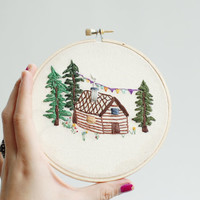 """Hand Embroidered Cabin. Hand Stitched Picture: Oregon Cabin In Springtime Forest. 5"""" Embroidery Hoop Art. Pacific Northwest Scene."""