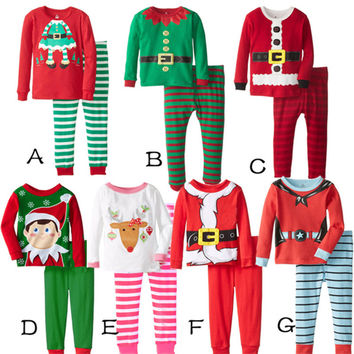 In Stock Kids Boy Clothes Christmas Boyos Clothing Sets toddler Baby Clothes long sleeve tops t shirt +pants pyjamas set
