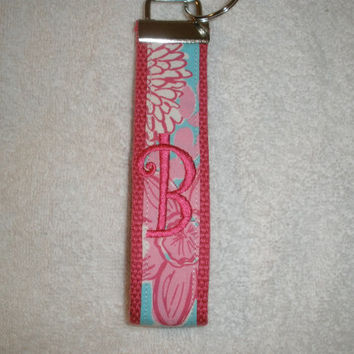 Preppy Lilly Pulitzer Fabric Monogrammed KeyFob Keychain Wristlet Pink & Blue Flowers