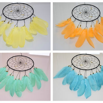 Boho Dream catcher, Yellow Orange  Blue Mint Dreamcatcher,  Wall Hanging Dream catcher Decor, Bedroom Wall Decor