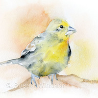 Goldfinch Bird Watercolor Print 5 x 7