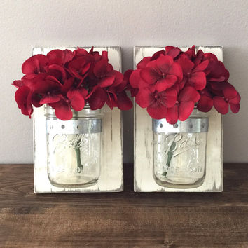 Set of 2 Mason Jar Wall Sconces Rustic Reclaimed Pallet Barn Wood Hand Painted Distressed Tea Light Holder Flower Vase Sconce